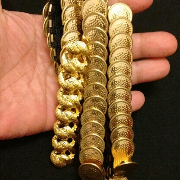 Vintage 2-Tone Gold Metal Coin Style Stretch Belt